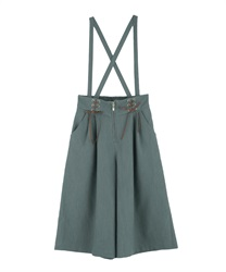 Half wide pants with suspension(Green-Free)