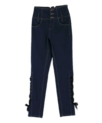 【2Buy10%OFF】High-waist denim pants(Indigo-S)