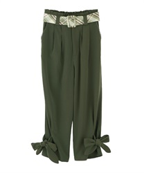 【2Buy10%OFF】Check belt with ribbon pant(Green-Free)
