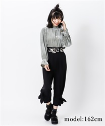 【2Buy10%OFF】Check belt with ribbon pant(Black-Free)