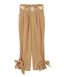 【2Buy10%OFF】Check belt with ribbon pant(Camel-Free)