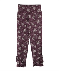 【axes femme yoga】Quick Dry Flower Pattered Layered Frill Hem Stretchy Leggings(Wine-Free)