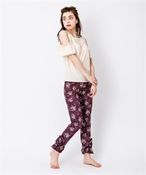 【axes femme yoga】Quick Dry Flower Pattered Layered Frill Hem Stretchy Leggings