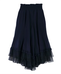 Pleated flared gaucho(Navy-Free)