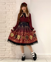 【2Buy10%OFF】key patterned skirt(Wine-Free)