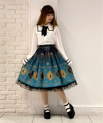 【2Buy10%OFF】key patterned skirt(Blue-Free)
