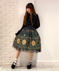 【2Buy10%OFF】key patterned skirt(Green-Free)