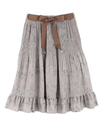 Shading Pattern Pleated Skirt(Ecru-Free)