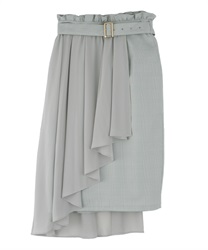 Chiffon Layered Middle Skirt(Green-Free)