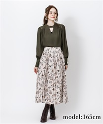 【2Buy10%OFF】Cover button print skirt(Beige-Free)