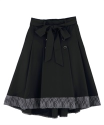 Hem lace switching trench skirt(Black-Free)