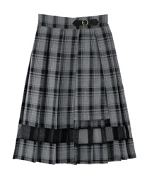 Slit design pleated skirt(Black-Free)