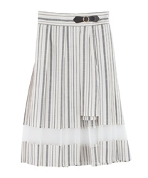 Slit Design Pleated Skirt(White-Free)