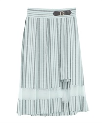 Slit Design Pleated Skirt(Green-Free)
