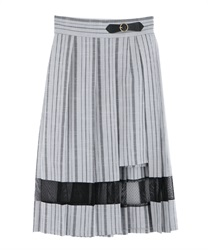 Slit Design Pleated Skirt(Grey-Free)