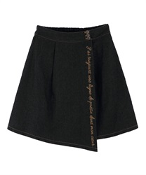 Message Embroidery Denim Skirt(Black-Free)
