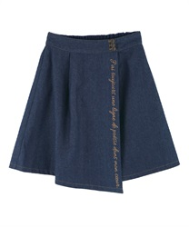 Message Embroidery Denim Skirt(Indigo-Free)