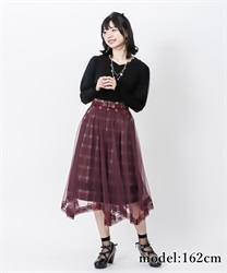 【2Buy10%OFF】Check×tulle skirt(Wine-Free)