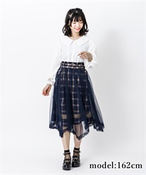 【2Buy10%OFF】Check×tulle skirt(Blue-Free)