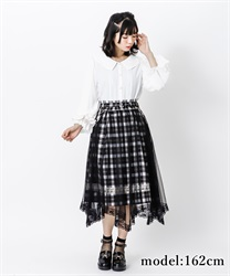 【2Buy10%OFF】Check×tulle skirt(Black-Free)