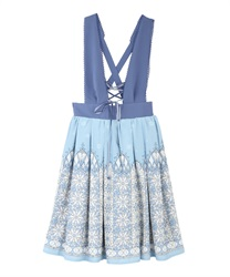 Snow crystal jumper skirt(Saxe blue-Free)