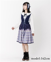 Snow crystal jumper skirt(Navy-Free)