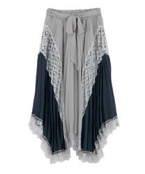 Pleated switching Irehemu Skirt(Grey-Free)