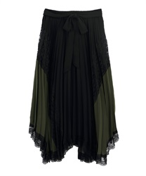 Pleated switching Irehemu Skirt(Black-Free)