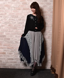 Pleated switching Irehemu Skirt