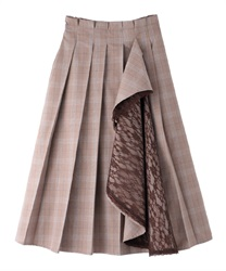Lace ruffle pleated skirt(Brown-Free)