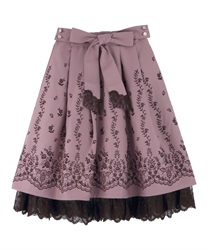 Panel embroidered skirt with ribbons(Pale pink-Free)