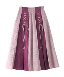 Cotton Lace Trimmed Skirt(DarkPink-Free)