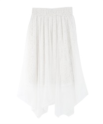 Tulle and Lace Irehem Skirt(White-Free)