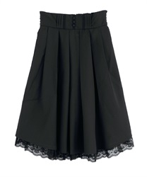 Tucked midi-skirt(Black-Free)