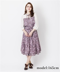 【2Buy10%OFF】Monochrome Floral Flare Skirt(Lavender-Free)