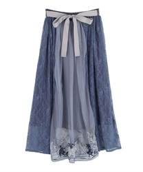 【2Buy10%OFF】Lily Pattern Tulle Skirt(Blue-Free)