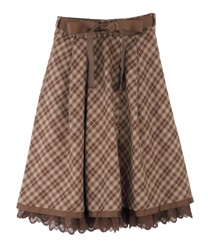【2Buy10%OFF】Tarta-check pattern skirt(Brown-Free)