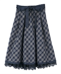 【2Buy10%OFF】Tarta-check pattern skirt(Navy-Free)