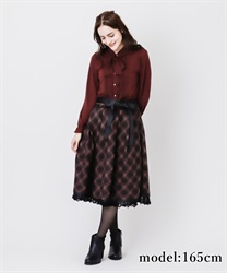 【2Buy10%OFF】Tarta-check pattern skirt(Black-Free)