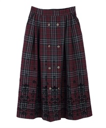 【10%OFF】Flocky check skirt(Wine-Free)