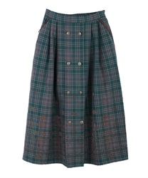 【10%OFF】Flocky check skirt(Green-Free)