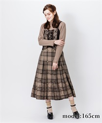 【10%OFF】Flocky check skirt(Brown-Free)
