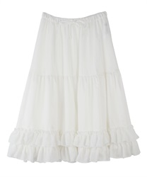 【2Buy10%OFF】Midi frilled petti skirt(White-Free)