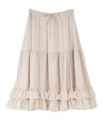 【2Buy10%OFF】Midi frilled petti skirt(Ecru-Free)