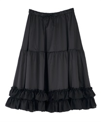 【2Buy10%OFF】Midi frilled petti skirt(Black-Free)