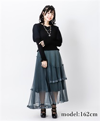 【2Buy10%OFF】Ashime tulle skirt(Dark green-Free)