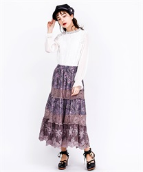 Paisley x Flower Print Long Skirt(Pale pink-Free)