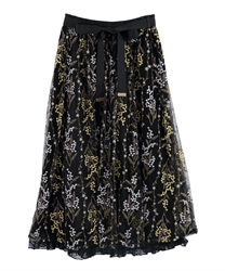 Mimosa embroidered tulle long skirt(Black-Free)