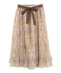 Mimosa embroidered tulle long skirt
