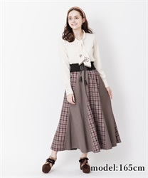 【10%OFF】Check pattern skirt with belt(Wine-Free)